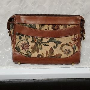 BRAHMIN VINTAGE TAPESTRY AND LEATHER CLUTCH